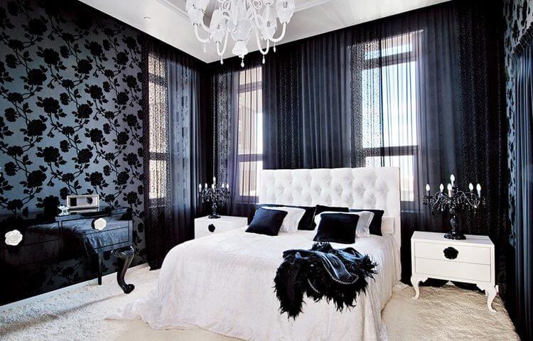 siyah-gül-desenli-duvar-kağıdı-modeli