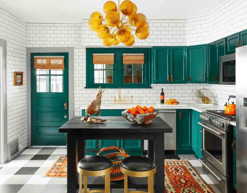petrol-yeşili-mutfak-dolabi-modeli