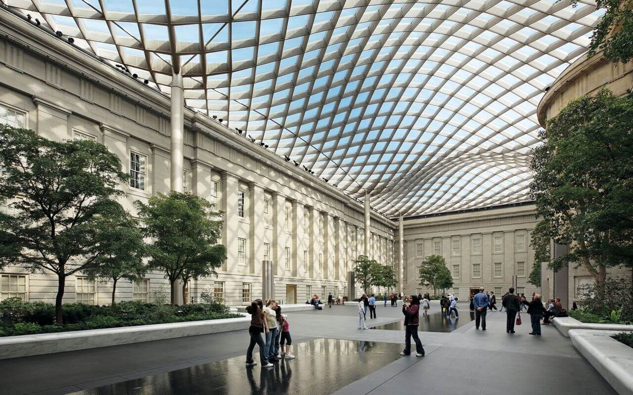 The Smithsonian Institution Building, Courtyard, Washington DC, USA, 2007 by Foster+Partners.