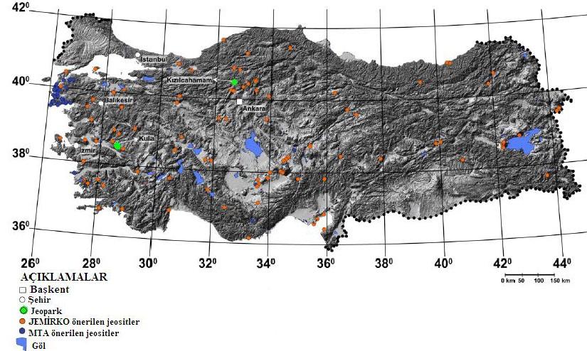Türkiyedeki jeosit ve jeopark alanları